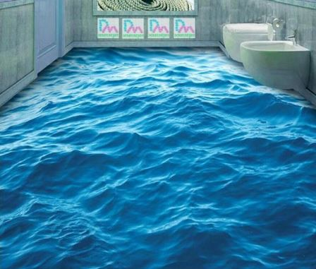 3d Effect Waves Floor Mural Different Sizes Available