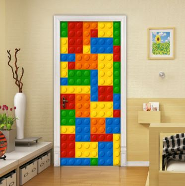 Modern Kids Lego Bricks Murals Wallpaper Waterproof Self Adhesive L Stick Door Sticker Mural