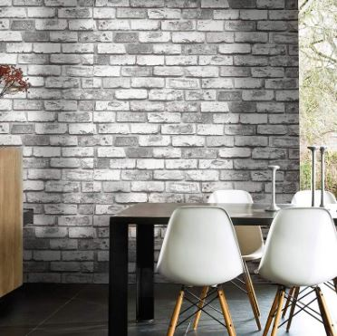 Modern Waterproof 3d Vinyl Bricks Wallpaper Mural 10m Light Grey