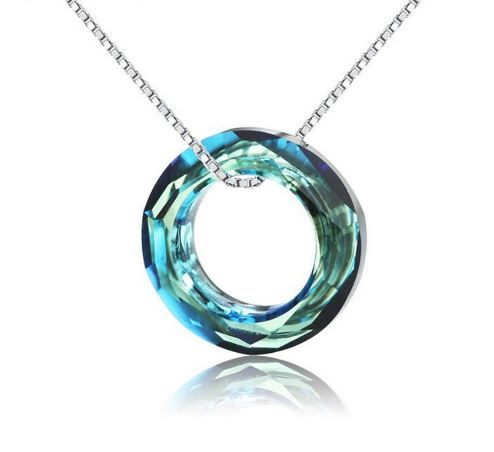lacer dans plusieurs couleurs images officielles 925 Sterling Silver Collier Blue Zircon Suspension Necklaces & Pendants  Women