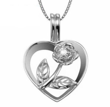 925 sterling silver heart rose flower necklaces pendants women 925 sterling silver heart rose flower necklaces pendants women jewelry aloadofball Image collections