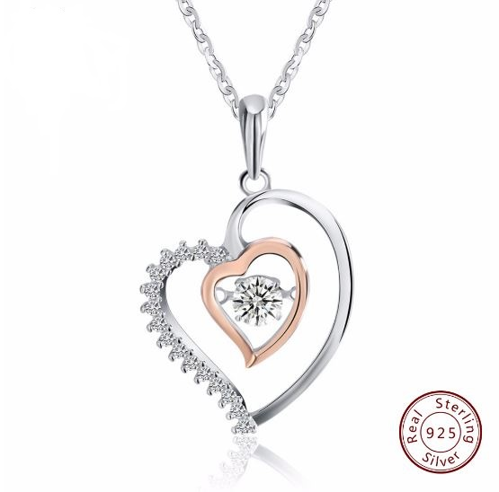 Cute 925 silver concentric hearts pendant necklace with crystal cute 925 silver concentric hearts pendant necklace with crystal rhodium and partly rose gold colored necklace aloadofball Image collections