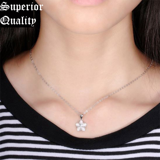 4679b17a21ab5a Genuine 925 Sterling Silver Open Flower Style Pendant & Necklace Women  Jewelry