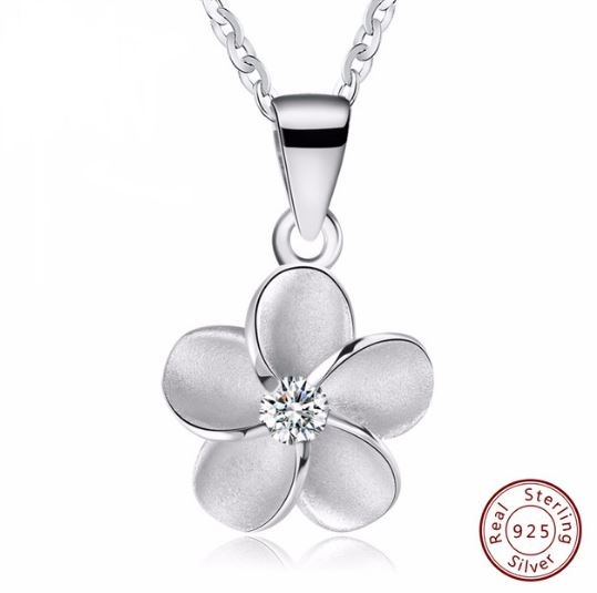 pendant style flower necklace women sterling product jewelry jewellery open genuine silver