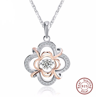 Modern 925 sterling silver dazzling flower pendant necklaces modern 925 sterling silver dazzling flower pendant necklaces partially rose gold colored with mobile crystal for women mozeypictures Images